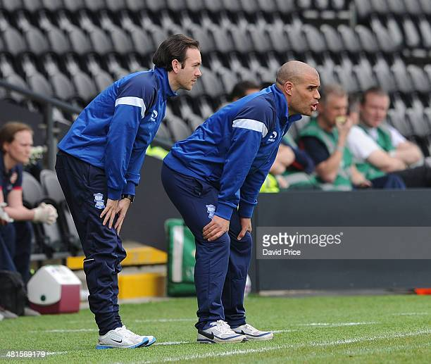 The Birmingham coaches Marcus Bignott and David Parker the match between Arsenal Ladies and Birmingham City Ladies in the UEFA Womens Champions...