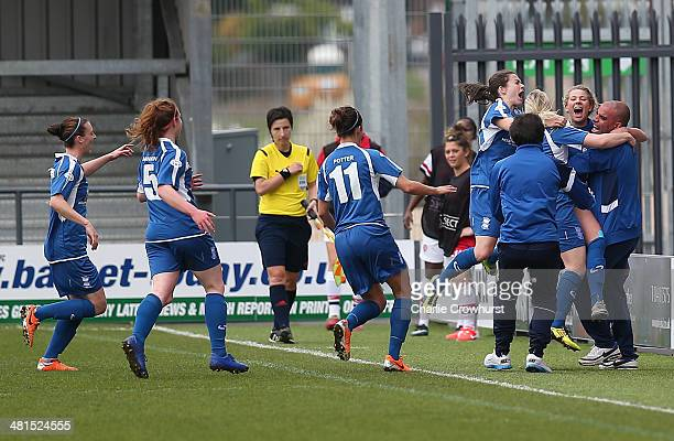 The Birmingham ladies celebrate Kirsty Linnett's goal during the Womens UEFA Champions League Quarter Final match between Arsenal Ladies and...