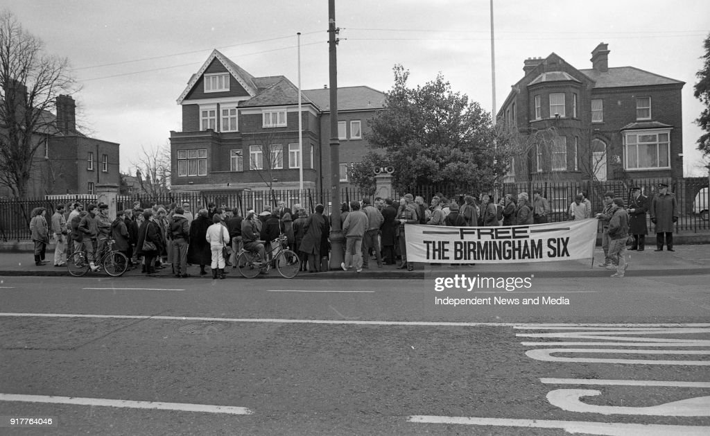 The Birmingham Six committee Protest outside the British Embassy 1988 : News Photo