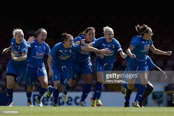 The Birmingham team celebrate winning the match after the FA Women's Cup Final between Birmingham City Ladies FC and Chelsea Ladies FC at Ashton Gate...