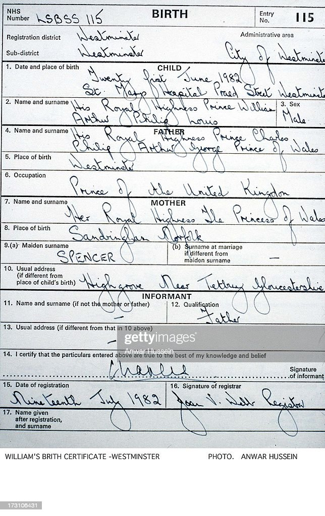 The birth certificate issued by the City of Westminster following the birth of Prince William on July 19, 1982 in London, England.