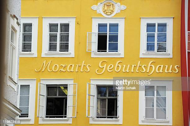 The birth house of Wolfgang Amadeus Mozart in the Getreidegasse is seen on July 25 2011 in Salzburg Austria The Salzburg Festival is a prominent...