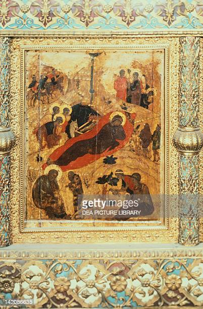The Birth of Christ by Andrei Rublev or Andrej Rubljov Icon Cathedral of the Annunciation Moscow