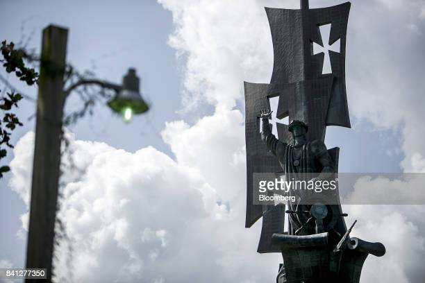 The Birth of the New World statue depicting the image of Christopher Columbus stands in Arecibo Puerto Rico on Friday Aug 25 2017 Over the...