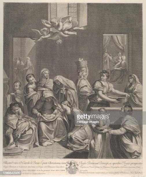 The birth of the Virgin; woman seated with an infant in her lap, numerous women surrounding her, angels above, after Reni, 1677. Artist Etienne...