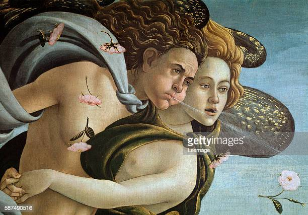 The Birth of Venus or Nascita di Venere Detail of Zephyrus God of Winds and of Aura personification of the breeze by Sandro Botticelli 1485 Galleria...