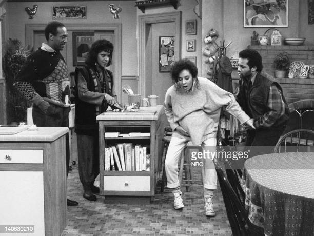"""The Birth: Part 1 & 2"""" Episode 6 & 7 -- Aired 11/10/88 -- Pictured: Bill Cosby as Dr. Heathcliff 'Cliff' Huxtable, Phylicia Rashad as Clair Hanks..."""