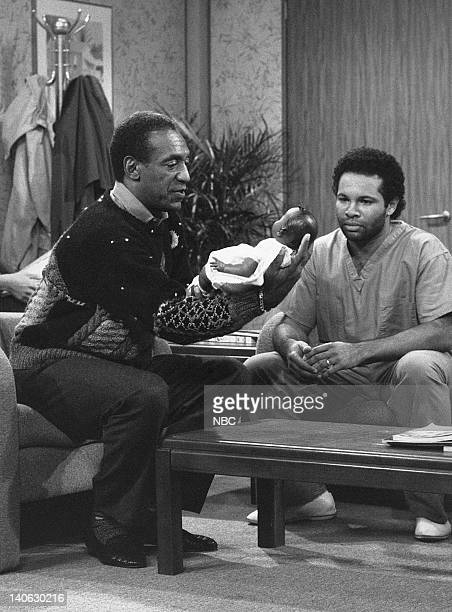 """The Birth: Part 1 & 2"""" Episode 6 & 7 -- Aired 11/10/88 -- Pictured: Bill Cosby as Dr. Heathcliff 'Cliff' Huxtable, Geoffrey Owens as Elvin Tibideaux..."""