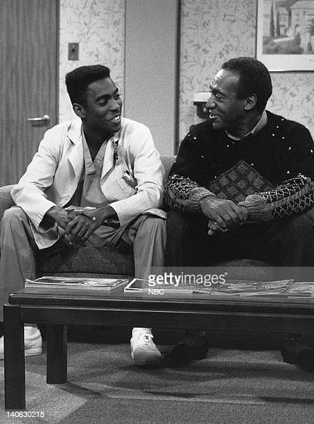 """The Birth: Part 1 & 2"""" Episode 6 & 7 -- Aired 11/10/88 -- Pictured: Tico Wells as Dr. Jerry Taylor, Bill Cosby as Dr. Heathcliff 'Cliff' Huxtable --..."""