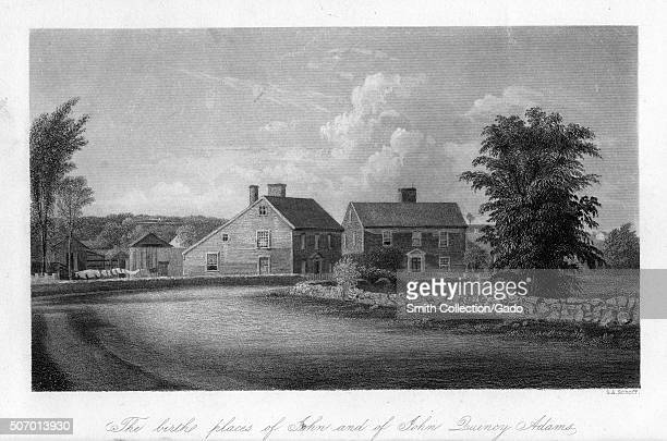 The birth places of John Adams and of John Quincy Adams 1850 From the New York Public Library