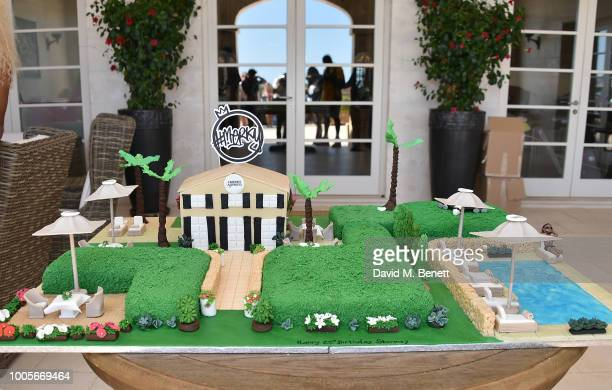 The birthday cake is pictured as Spotify Premium throws the ultimate party in Spain for Stormzy's 25th birthday on July 26 2018 in Menorca Spain