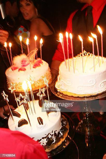The birthday cakes are prepared for Kim Kardashian party at Les Deux on October 21 2007 in Los Angeles California