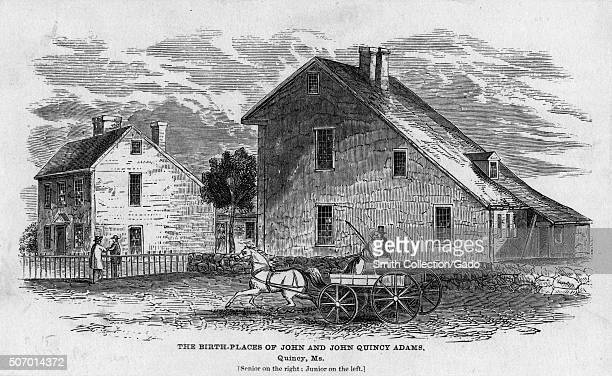 The birthplaces of John and John Quincy Adams Quincy Massachusetts 1850 From the New York Public Library