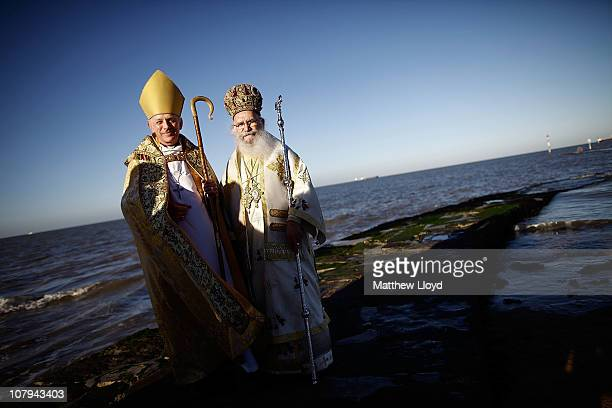The Bishop of Dover Rt Rev Trevor Willmott and His Eminence Gregorios Greek Orthodox Archbishop of Thyateira and Great Britain pose on the beach for...