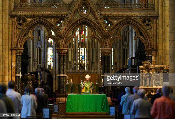 The Bishop of Durham, The Right Reverend Paul Butler presides over a Eucharist service at the first public worship held since Coronavirus...