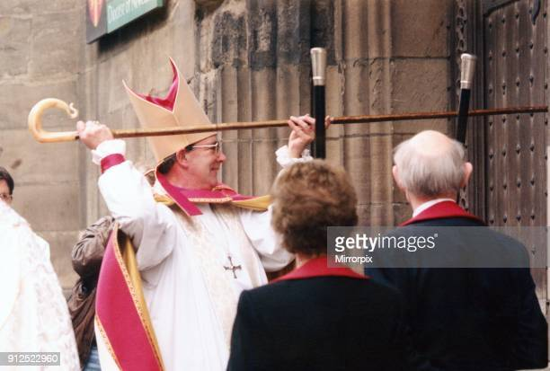 The Bishop of Newcastle the Right Reverend Martin Wharton knocks on the doors of St Nicolas' Cathedral before entering for his enthronement 14th...