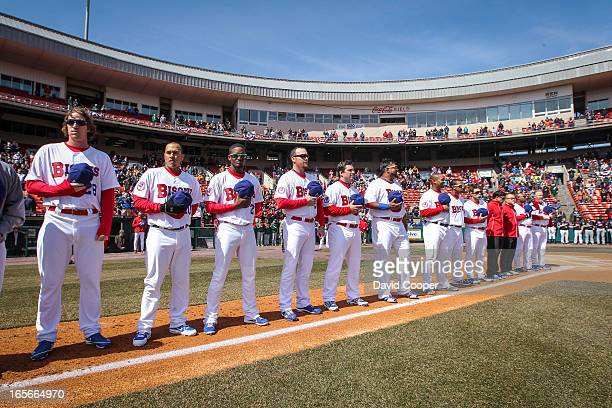 The Bisons starting lineup stands before a crowd of 15852 who showed up for opening day of the Blue Jays new AAA farm team the Buffalo Bisons who...