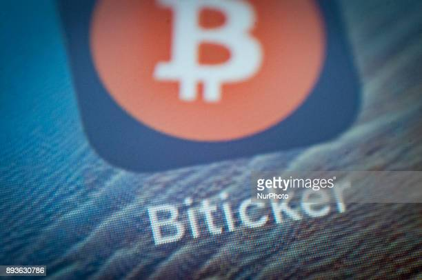 The Biticker app is seen on an iPhone on December 15 2017