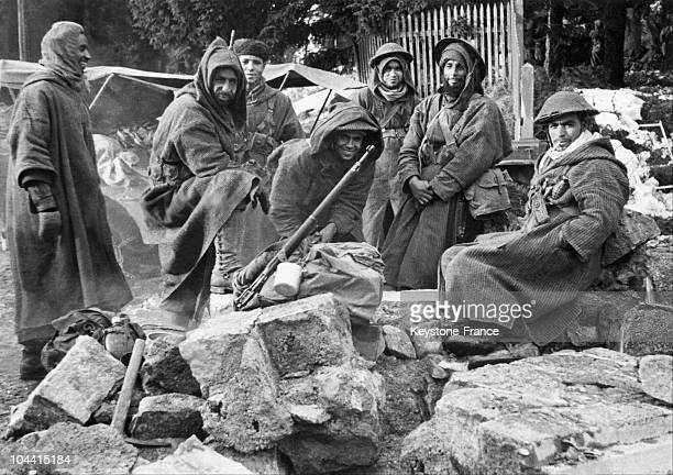 The bivouac of the riflemen of the 3rd Algerian Infantry Division in Alsace during the winter of 1944.