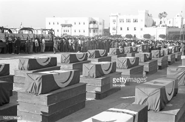 The Bizerte Crisis 1961 Coffins of the victims of Battle of Bizerte seen here at a funeral service in Tunis. July 24, 1961.