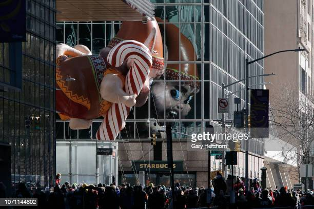 The Bjorn balloon floats down 6th Avenue during the 92nd Annual Macy's Thanksgiving Day Parade on November 22 2018 in New York City
