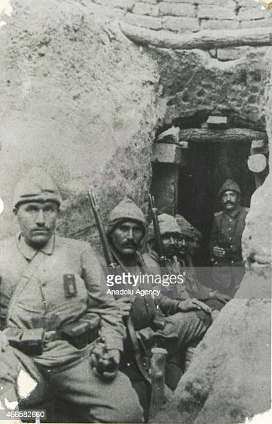 The black and white pictures Turkish General Staff has released on March 17 2015 show bombers at a bulwark in Canakkale during Battle of Gallipoli...