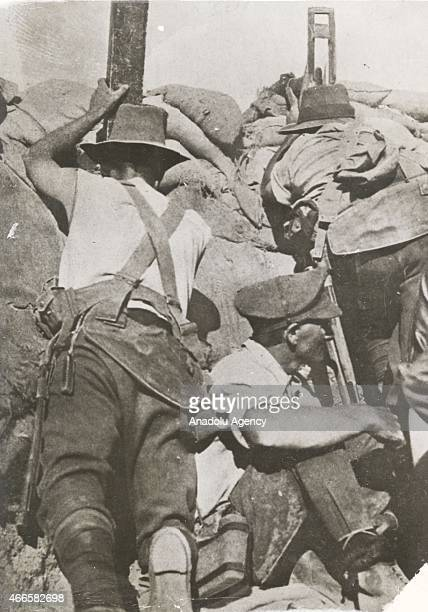 The black and white pictures Turkish General Staff has released on March 17 2015 show Anzac troop at a bulwark in Canakkale during Battle of...