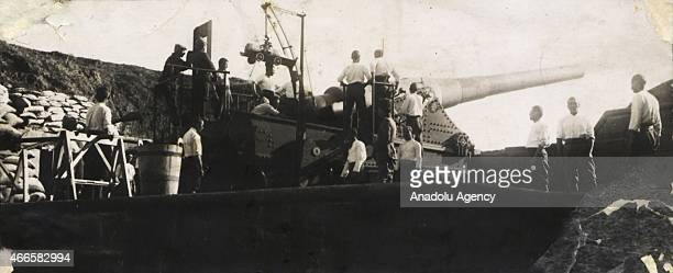 The black and white pictures Turkish General Staff has released on March 17 2015 show the artillery and gunners who sank the Buve Armoured Ship in...