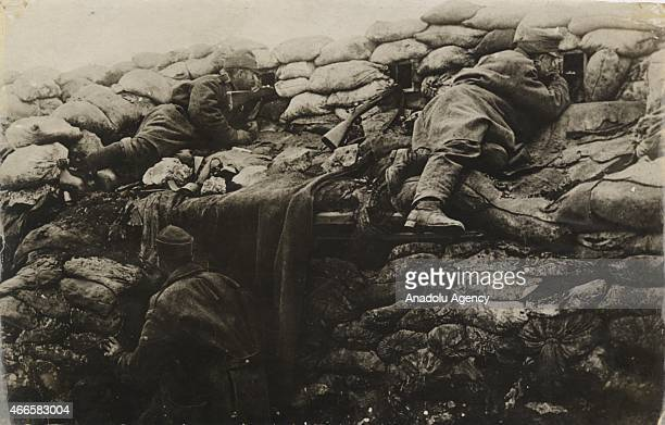The black and white pictures Turkish General Staff has released on March 17 2015 show British soldiers look out from a bulwark in Canakkale during...