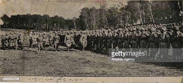 The black and white pictures Turkish General Staff has released on March 17 2015 show a foot is being inspected in Canakkale during Battle of...