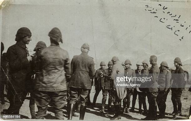 The black and white pictures Turkish General Staff has released on March 17 2015 show Liman Pasha receives his medal at the Suvla Bay in Canakkale...