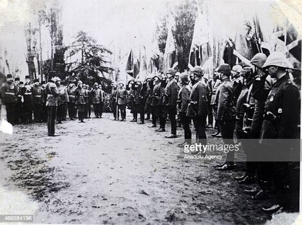 The black and white pictures Turkish General Staff has released on March 17 2015 show a troop is inspected in Canakkale during Battle of Gallipoli...