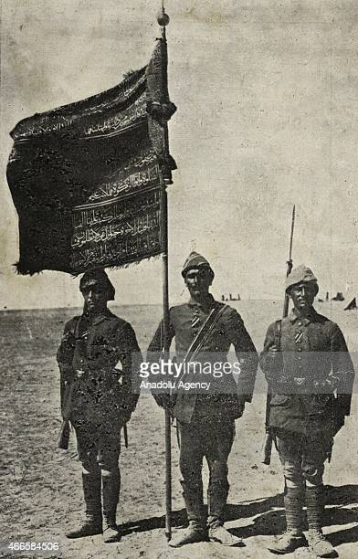 The black and white pictures Turkish General Staff has released on March 17 2015 show a veteran regimental banner planted in Lone Pine in Canakkale...