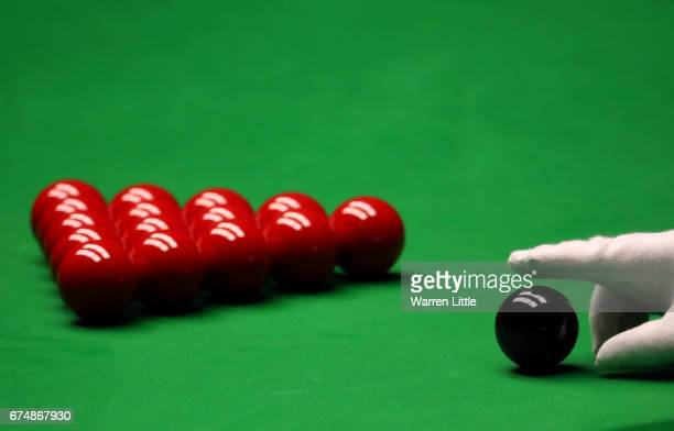 The black ball is placed on the spot during day fifteen of Betfred World Championship 2017 at Crucible Theatre on April 29 2017 in Sheffield England
