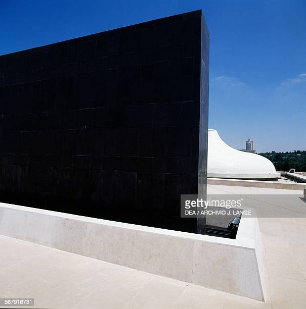 The black basalt monolith and the Shrine of the Book by the architects Frederick John Kiesler and Armand Phillip Bartos where the Dead Sea Scrolls...