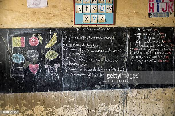 The black board of a school indicates the last day of class, last March 22 as this school of Timbuktu re-open today, on February 1 after 10 months of...