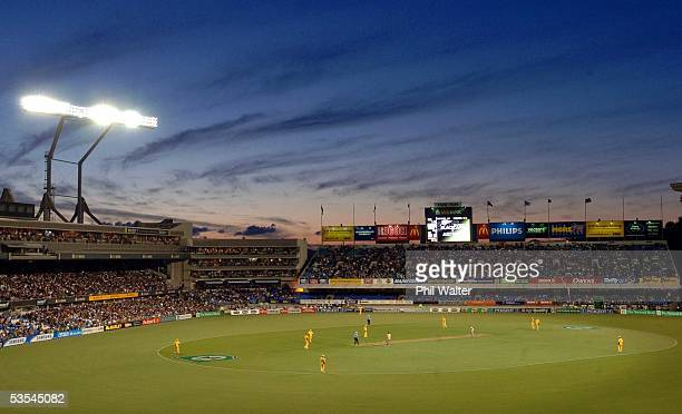 The Black Caps against Australia in the first ever Twenty20 International Cricket Match played at Eden Park Auckland New Zealand February 17th 2005...