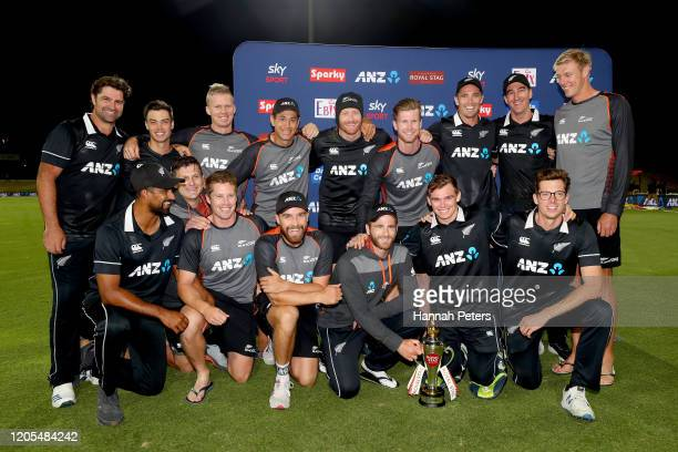 The Black Caps celebrate after winning game three of the One Day International Series between New Zealand and India at Bay Oval on February 11 2020...