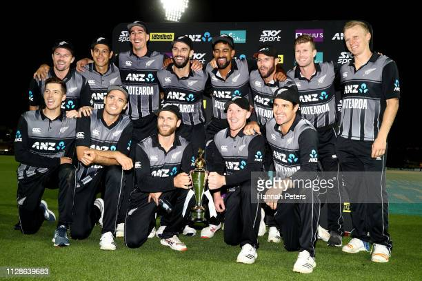 The Black Caps celebrate after winning the International T20 Game 3 between India and New Zealand at Seddon Park on February 10 2019 in Hamilton New...