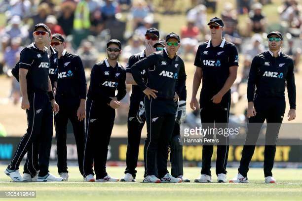 The Black Caps celebrate the run out of Prithvi Shaw of India during game three of the One Day International Series between New Zealand and India at...