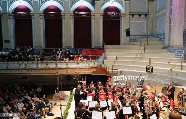 The Black Dyke Brass Band performs at Huddersfield Town Hall during the Yorkshire regional finals of the National Brass Band Championships of Great...