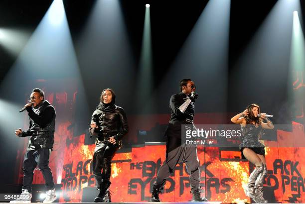 The Black Eyed Peas apldeap Taboo william and Stacy Fergie Ferguson perform at the Mandalay Bay Events Center December 29 2009 in Las Vegas Nevada...