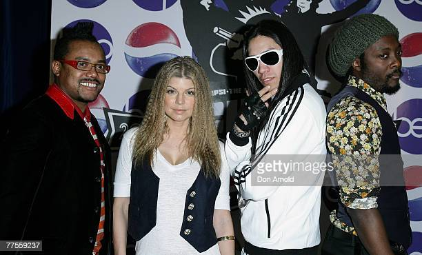 The Black Eyed Peas appear during a press conference at the Marriott Hotel October 30 2007 in Sydney Australia The Black Eyed Peas are in Australia...