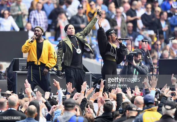 The Black Eyed Peas perform during the 2018 AFL Grand Final match between the Collingwood Magpies and the West Coast Eagles at Melbourne Cricket...