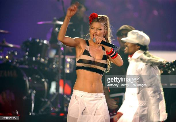 The Black Eyed Peas perform on stage during the MTV Europe Music Awards 2003 at Western Harbour in Leith Edinburgh