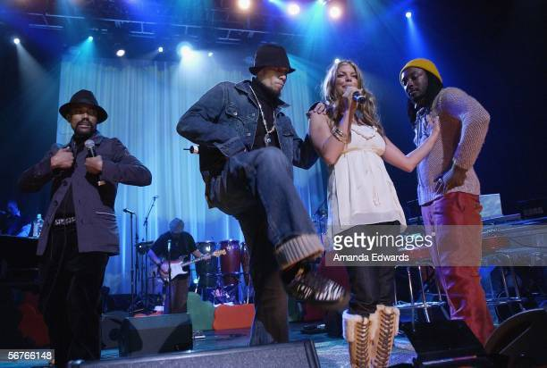 The Black Eyed Peas perform onstage at the Pea Pod Concert Benefit at the Henry Fonda Music Box Theater on February 6 2006 in Hollywood California...