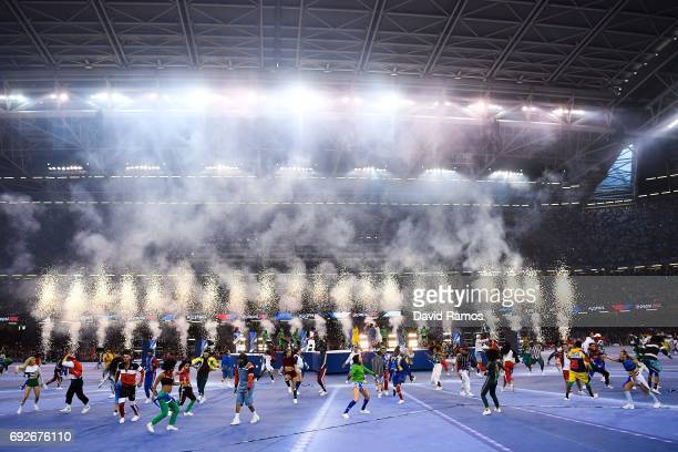 The Black Eyed Peas perform prior to the UEFA Champions League Final between Juventus and Real Madrid at National Stadium of Wales on June 3 2017 in...