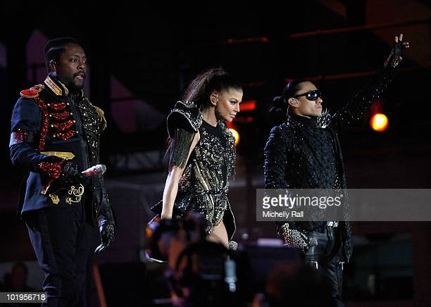 The Black Eyed Peas Will.I.Am, Fergie and Taboo perform on stage during the FIFA World Cup Kick-off Celebration Concert at the Orlando Stadium on...