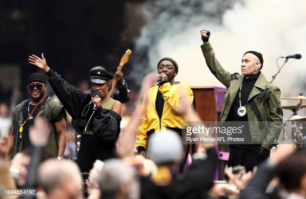 The Black Eyes Peas perform during the 2018 AFL Grand Final match between the Collingwood Magpies and the West Coast Eagles at Melbourne Cricket...