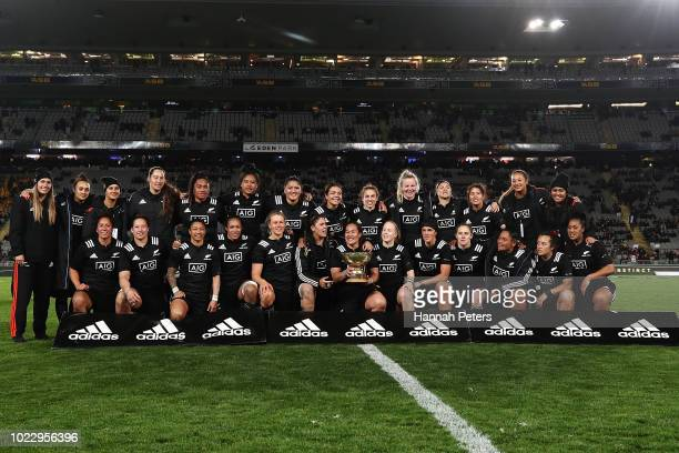 The Black Ferns celebrate after winning the International Test match between the New Zealand Black Ferns and the Australia Wallaroos at Eden Park on...